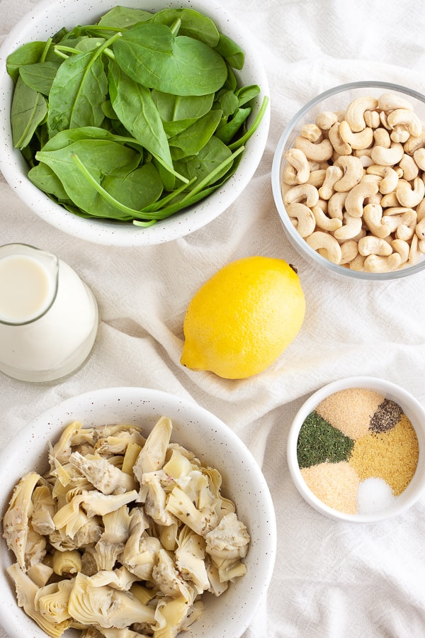 Vegan Spinach and Artichoke Dip Ingredients