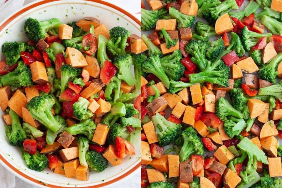 Baked Veggies and Sweet Potato