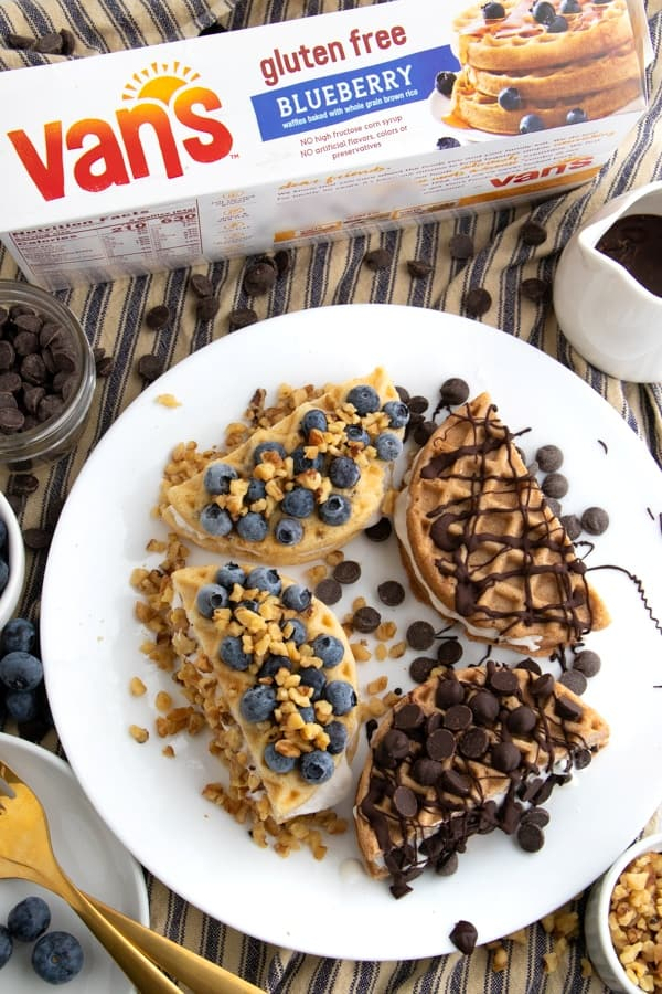 Fruit and Chocolate Waffle Sandwiches