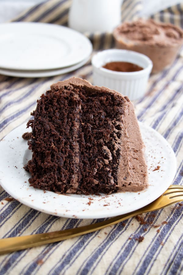 Vegan Cake with Chocolate Buttercream Frosting