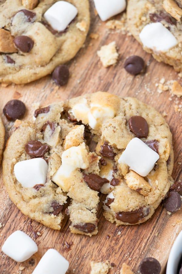 Vegan Chocolate Chip Smores Cookies